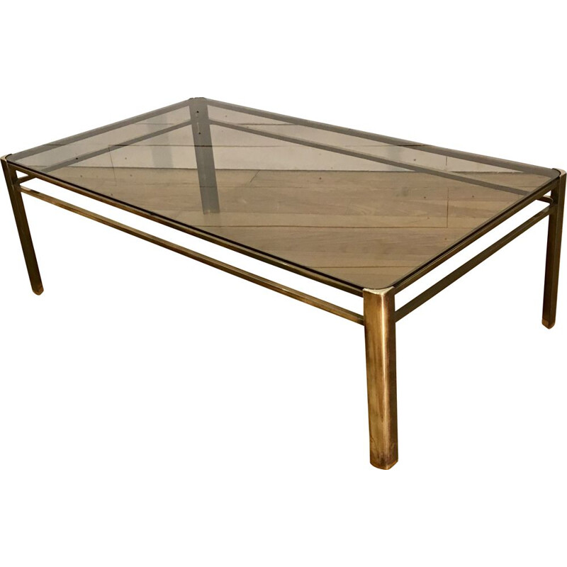 Vintage bronze coffee table by Maison Malabert, France, 1960s