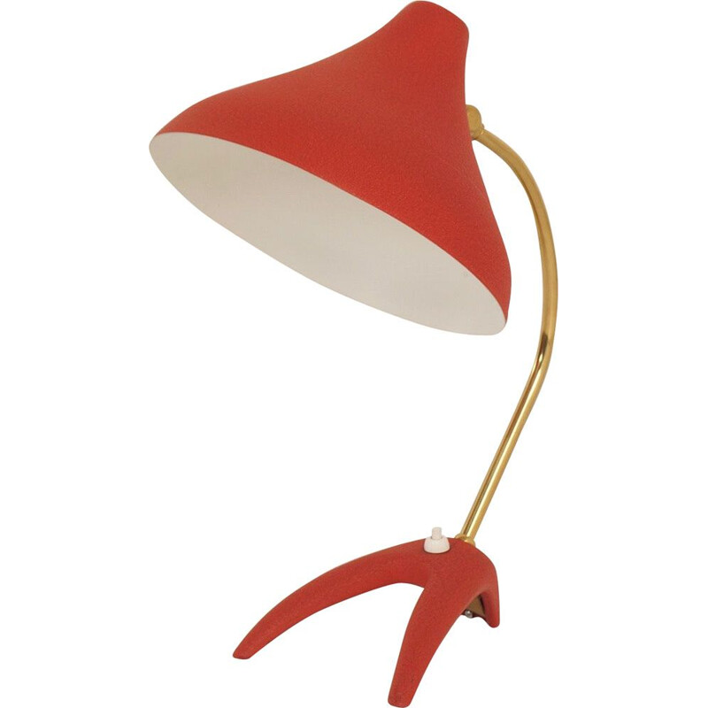 Vintage red desk lamp by Ewa Värnamo, Sweden, 1950s
