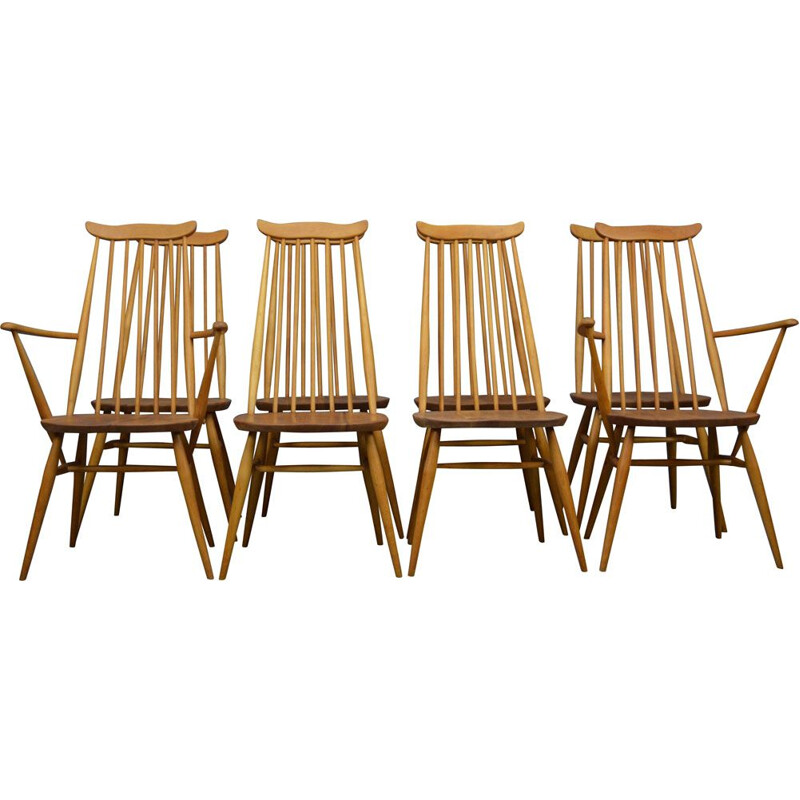 Vintage set of 8 dinning chairs by Ercol, 1960s