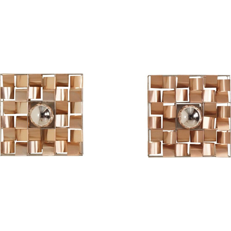 "Set of 2 ""Atlas"" wall lamps by Max Sauze, France, 1970s"