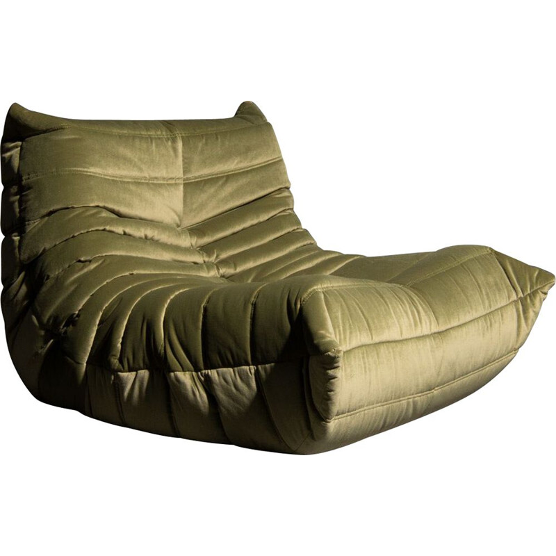 Vintage 'Togo' one seater sofa in green velvet by Michel Ducaroy