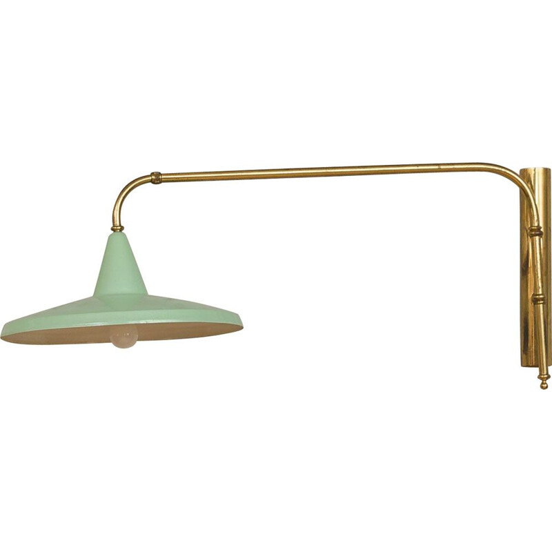 Vintage wall light in green and brass, Italy, 1950s