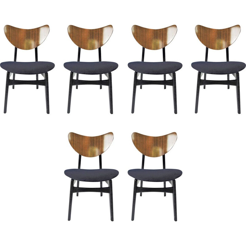 Set of 6 vintage navy dining chairs by G-Plan, 1960s