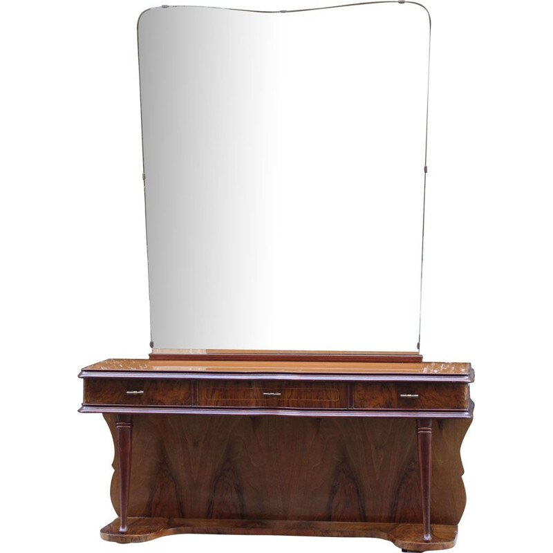 Vintage walnut and glass dressing table with mirror, Italy, 1950s