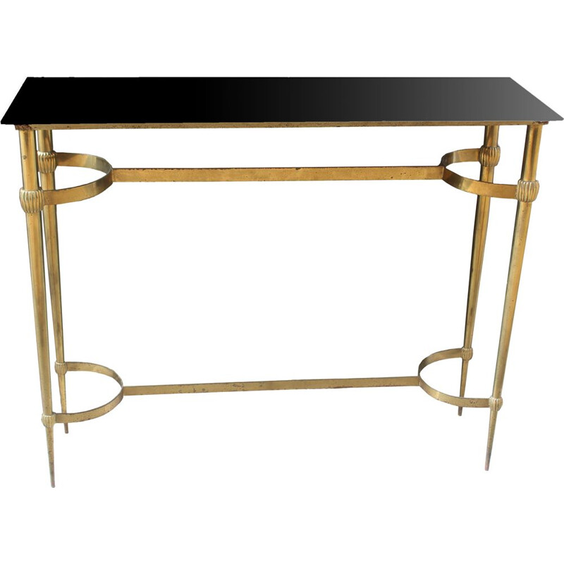 Vintage brass and glass console table, Italy, 1950s