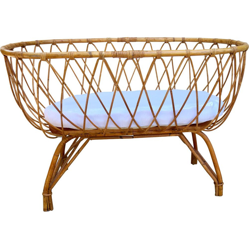 Vintage cradle in rattan, organic mattress in wool, cotton and coconut fibers, France