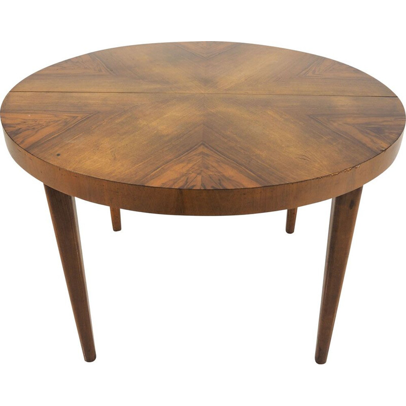 Vintage dining table with extension by Jindřich Halabala, for UP Zavoda, Czechoslovakia