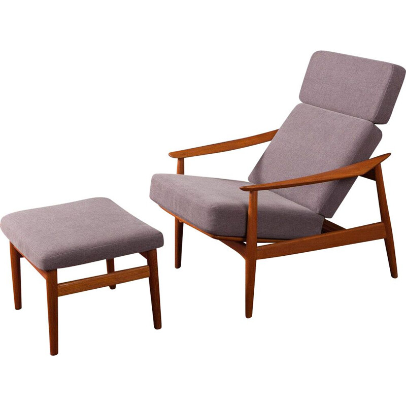 Vintage Danish Armchair with stool by Arne Vodder 1960s