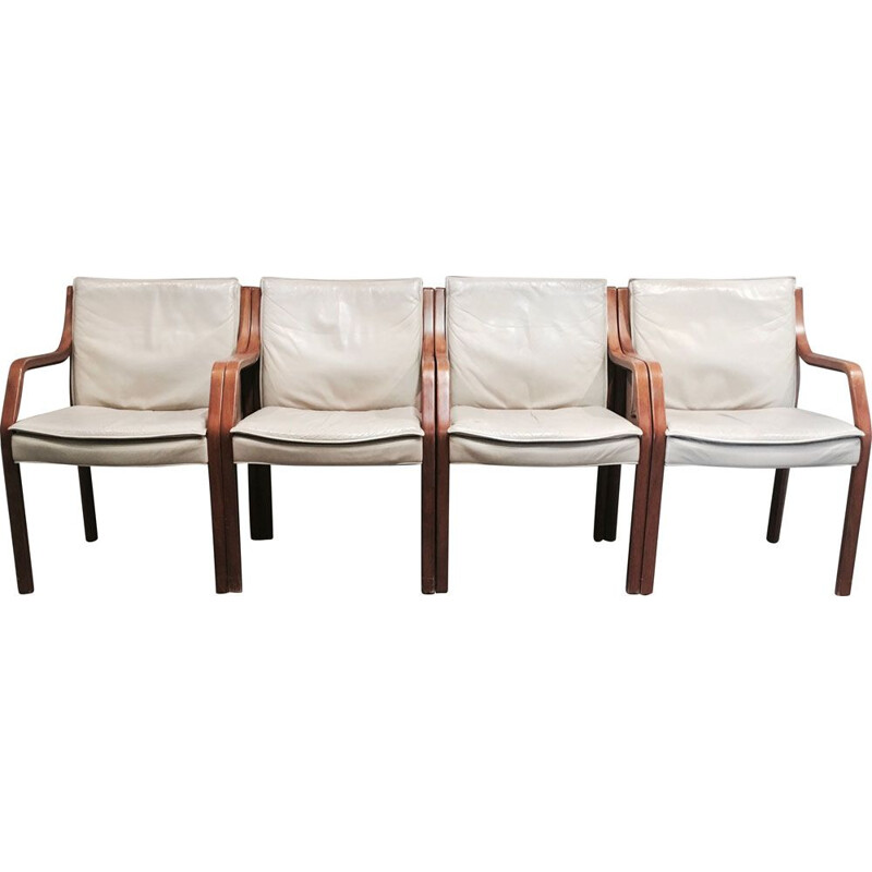 Vintage set of 4 armchairs in leather by Knoll Antimott, 1960s