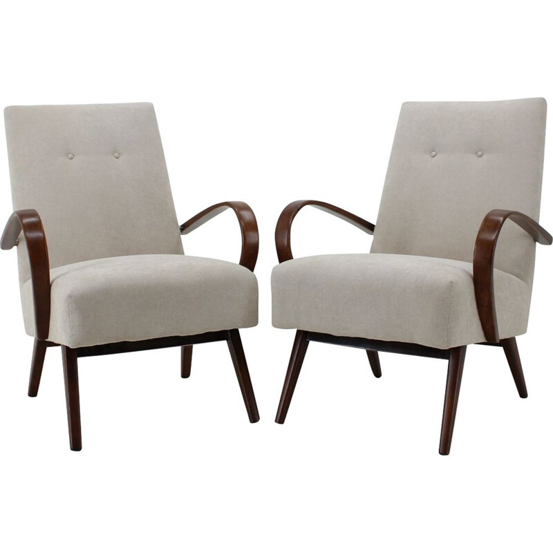 Pair of 2 vintage lounge chairs by Thon Thonet, 1960s