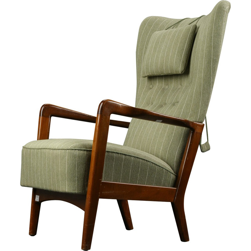 Scandinavian Fritz Hansen woollen and birch armchair - 1940s