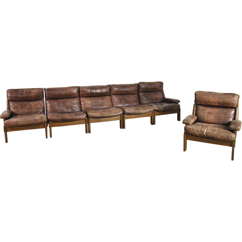 Vintage 5-pieces modular leather Oak Sofa & Armchair, Netherlands, 1960s