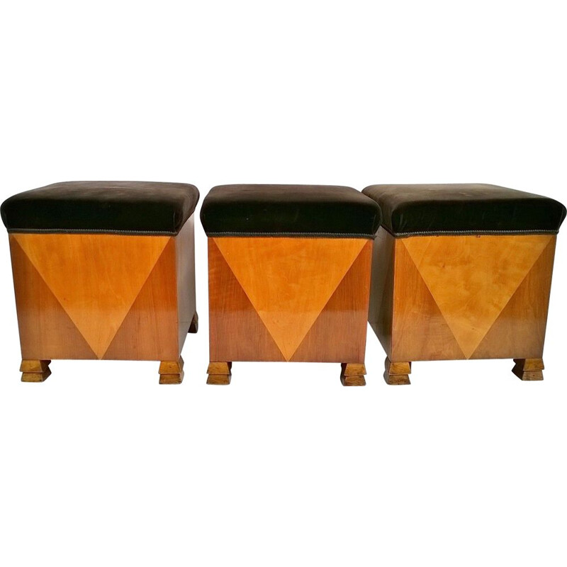 Set of 3 vintage poufs with art deco style, Italy, 1920s.