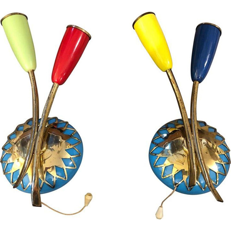 Set of 2 vintage wall lights in brass, Italy, 1950s