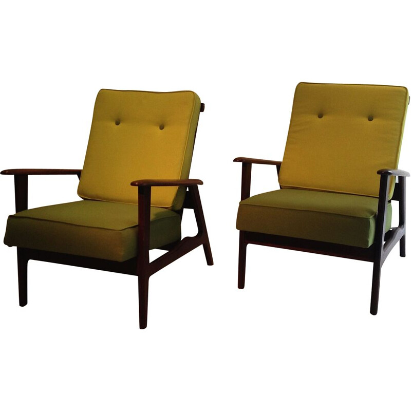 Vintage pair of armchairs in teak, 1950s