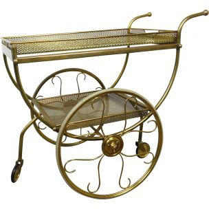 Vintage Brass Serving Bar Cart by Josef Frank for Svenskt Tenn, Sweden, 1950s