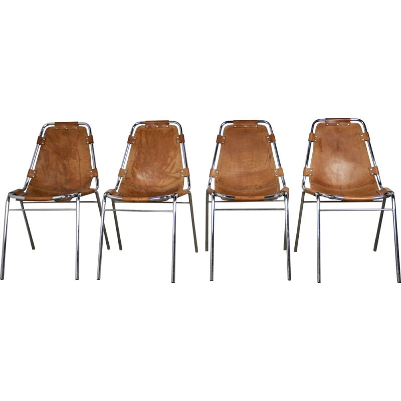 """Set of 4 vintage chairs """"Les arcs"""" for Charlotte Perriand, 1960"""