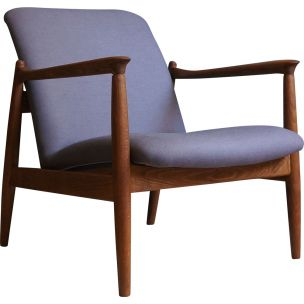 Vintage Armchair designed by Edmund Homa, grey linen upholstery, 1960s