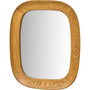 Vintage oak wall mirror by Per Argén for Fröseke, 1950s