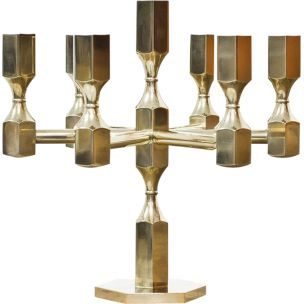 Vintage brass Candelabra by Lars Bergsten for Gusum, 1972