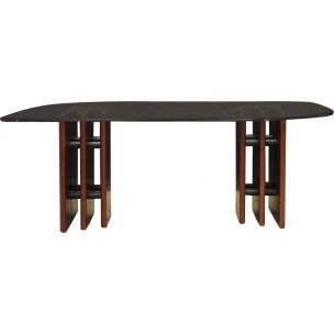 Vintage table in glass and mahogany wood by Bendixen, Denmark, 1960-70s