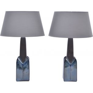 Pair of 2 vintage stoneware lamp model 1029 by Einar Johansen for Soholm, 1960s