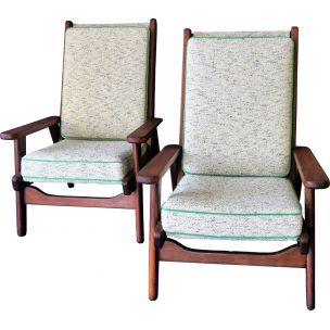 Pair of 2 vintage armchairs Guariche FS 108, Free-Span edition, 1954
