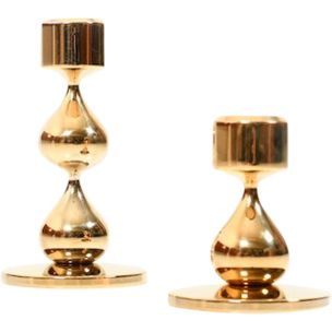 Pair of 2 gilded vintage candlesticks by Hugo Asmussen, Denmark, 1960s