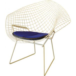 "Vintage armchair in powder-coated metal and wool ""Diamond"" by Harry BERTOIA, 1972"