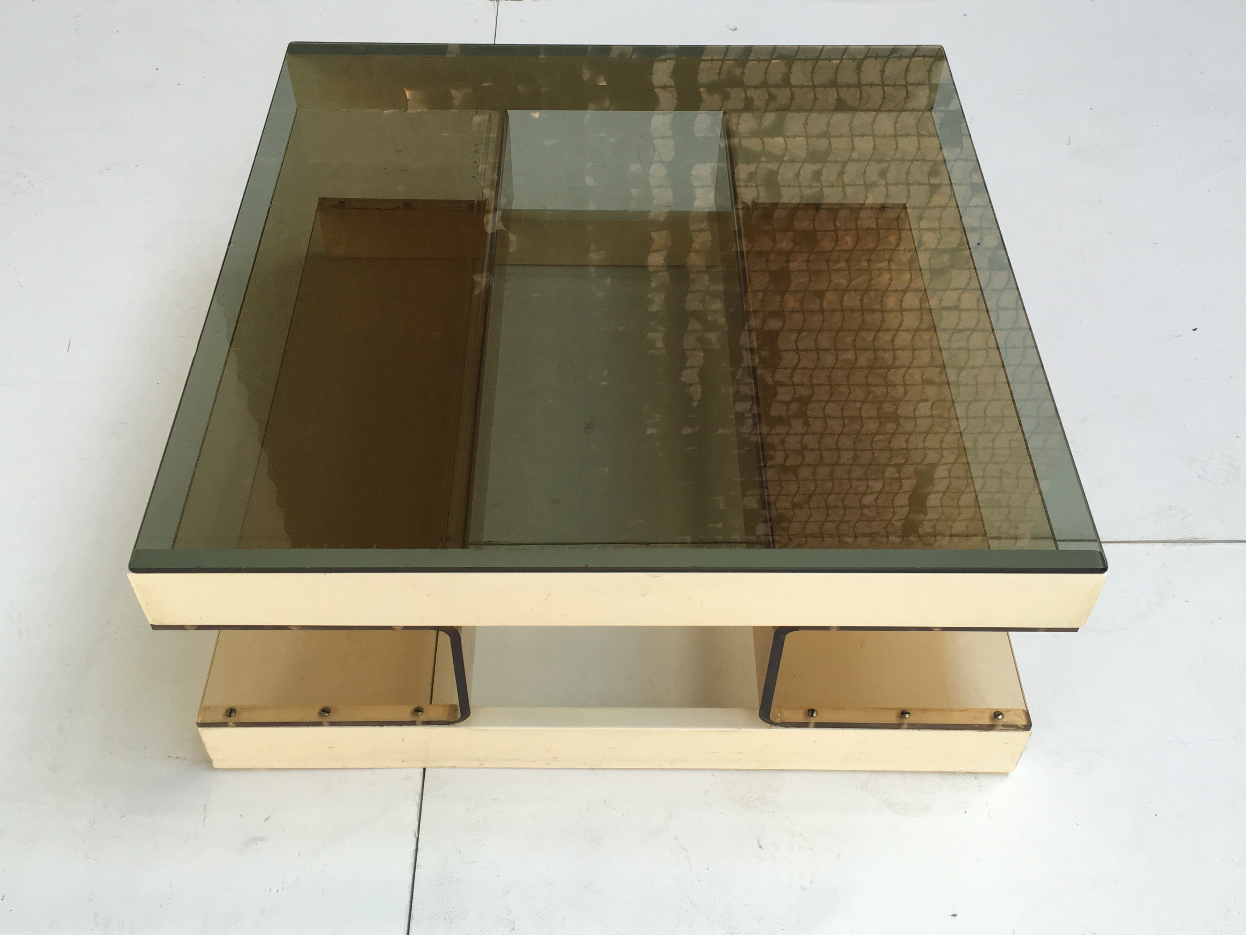 Vintage Coffee Table In Smoked Glass Plexiglass And Wood 1970s  # Meuble Tv Plexiglass