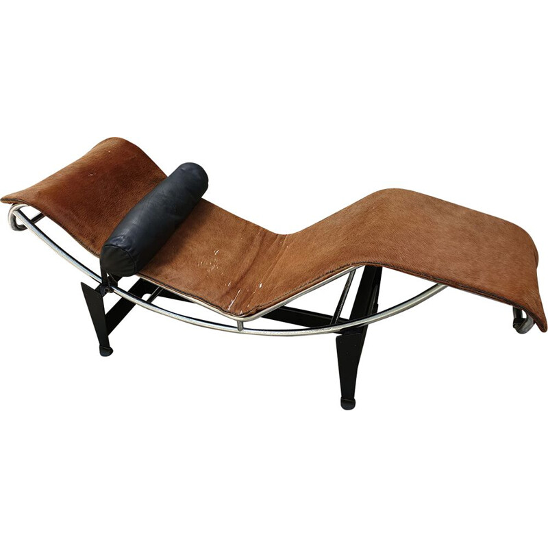 Vintage LC4 Long Chair by Le Corbusier in cowskin, 1965