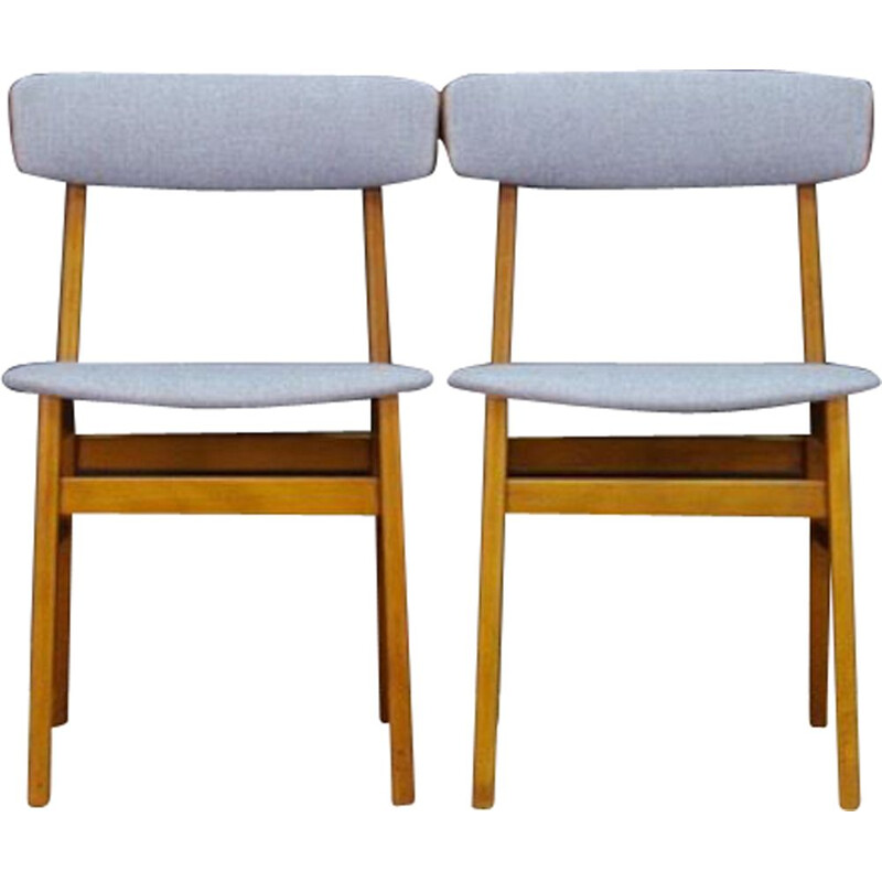 Set of 2 vintage beech wood chairs, Denmark, 1960-70s