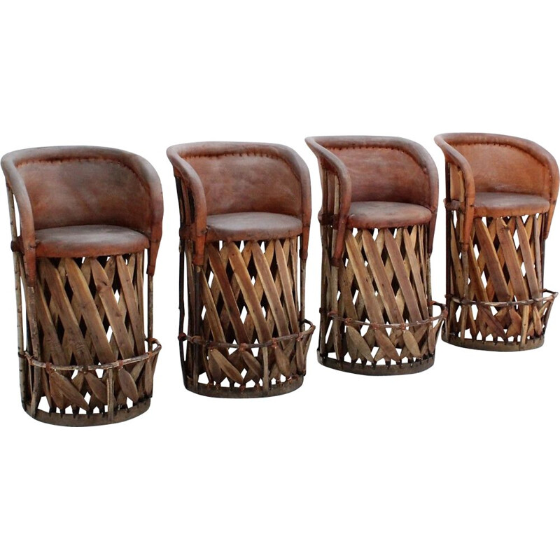 Vintage jungle design cow leather and wood stools 1970s, set of 4