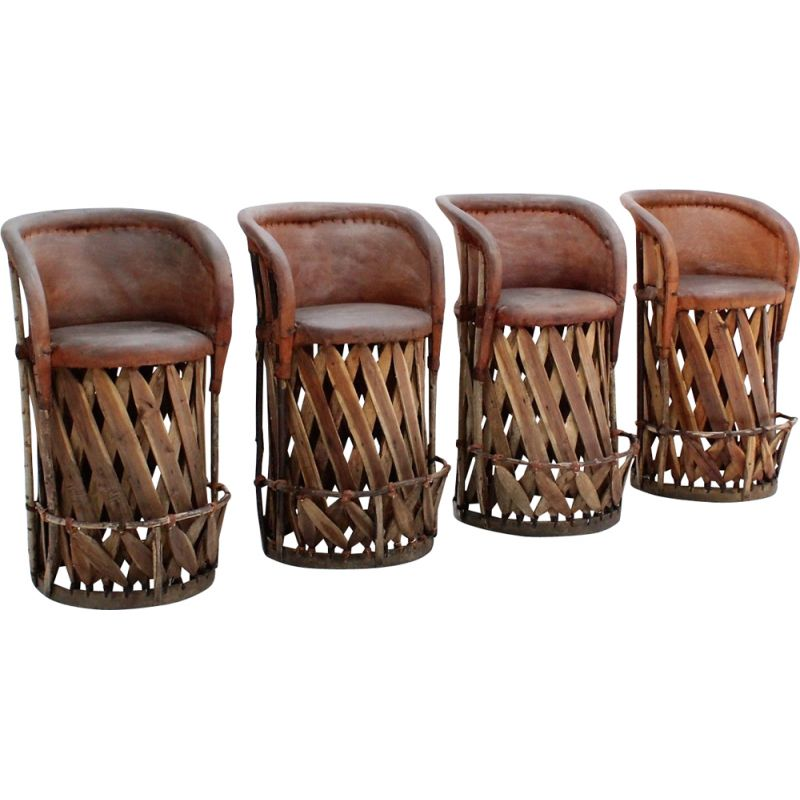 Wondrous Vintage Jungle Design Cow Leather And Wood Stools 1970S Set Of 4 Alphanode Cool Chair Designs And Ideas Alphanodeonline