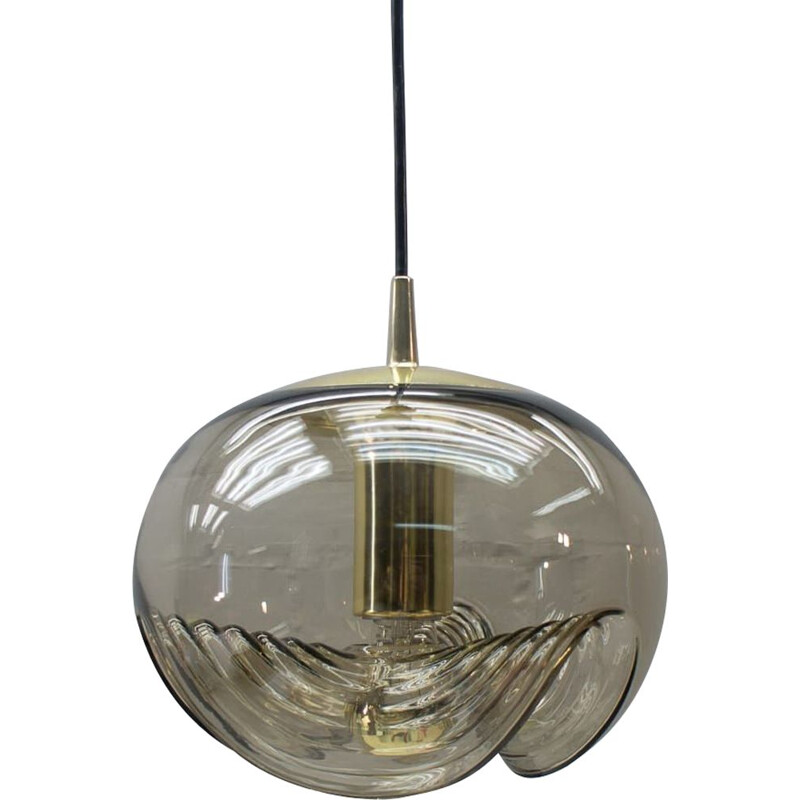 """Vintage large smoked glass lamp """"Wave"""" by Koch & Lowy for Peill & Putzler, 1960s"""