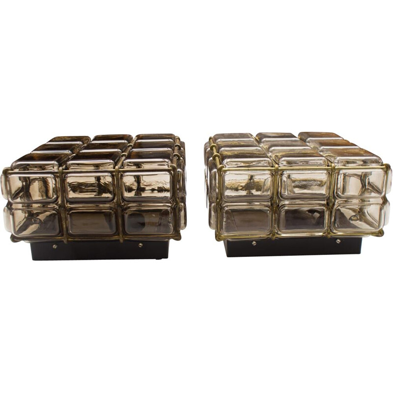 Set of 2 vintage geometric glass and brass grid wall lights