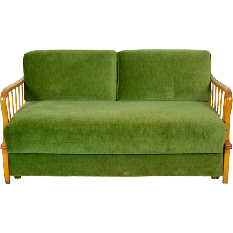"""Vintage velvet and teak sofa """"Daybed"""" by Mignon Màbel, Germany, 1960s"""