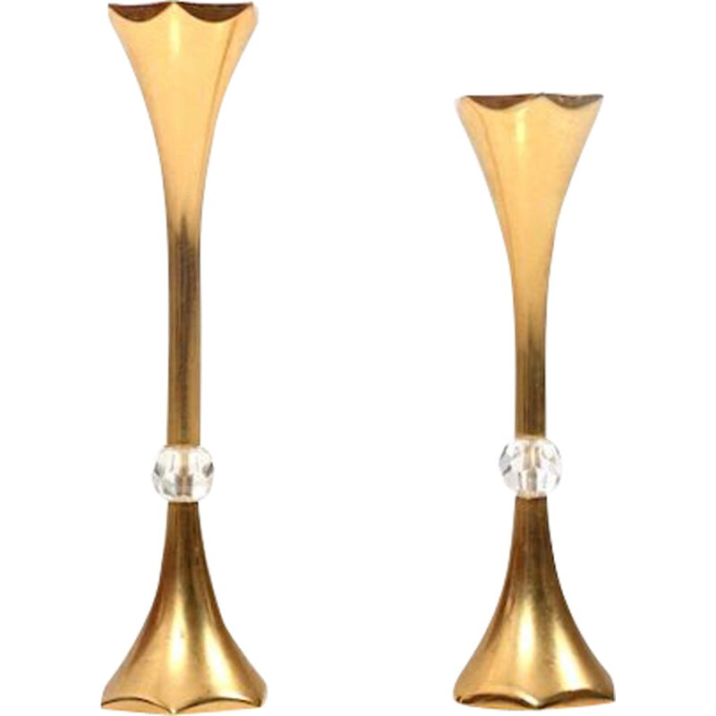 Set of 2 vintage gilded candleholders by Hugo Asmussen, Denmark, 1960s