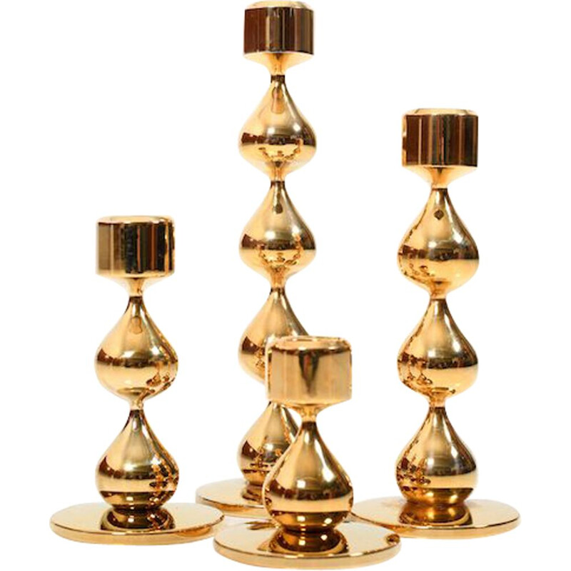 Set of 4 vintage candleholders by Hugo Asmussen, Denmark, 1960s