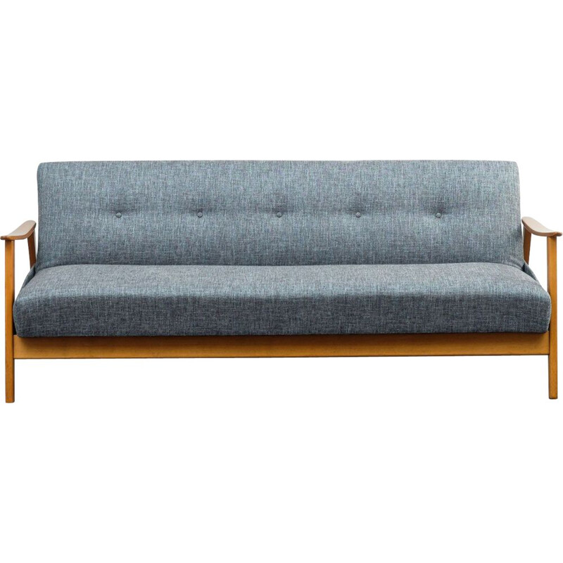 Beech vintage sofa with fold-out guest bed, 1960s