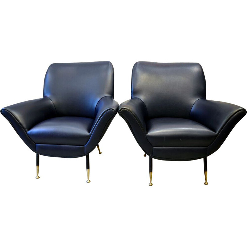Pair of 2 blue italian vintage armchairs, 1950s