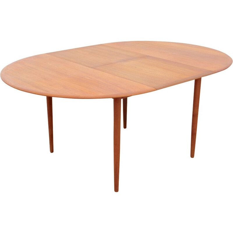 Teak round scandinavian vintage dining table in butterfly extension, 1960s