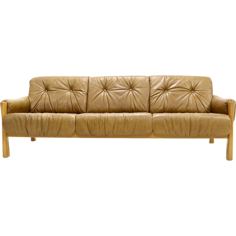 Brazilian style vintage sofa in leather, 1960s