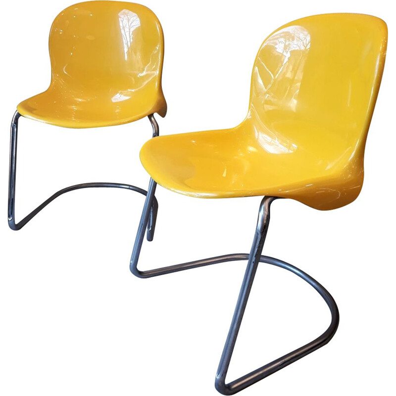 """Pair of vintage """"Cadsana"""" chairs by Pier Luigi Gianfranchi for ICF De Padova, 1970s"""