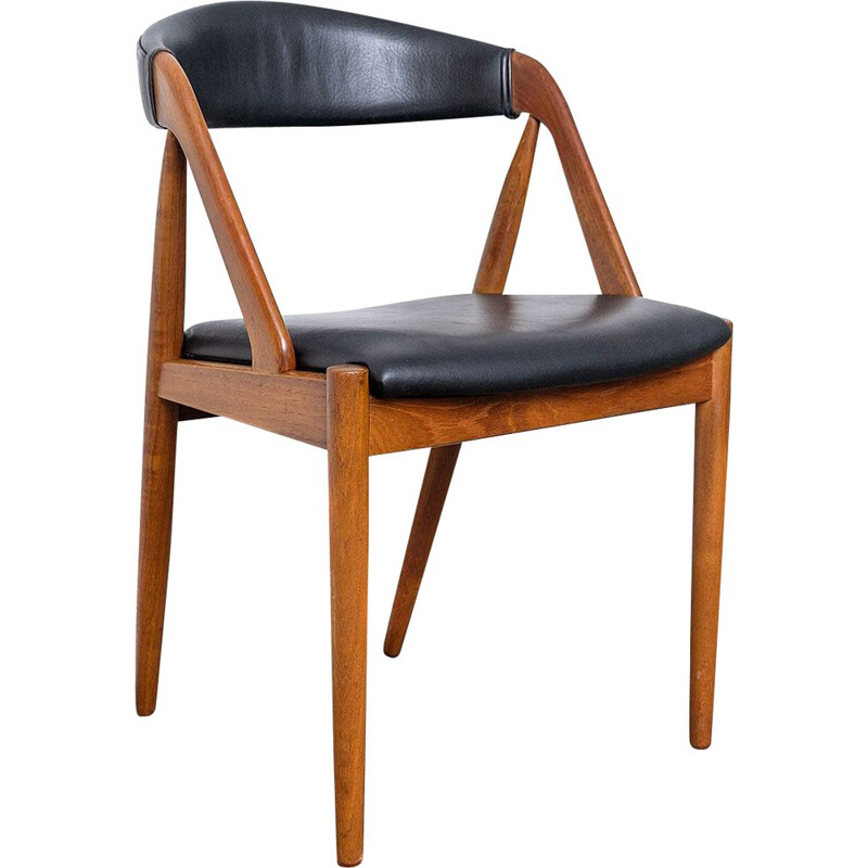 Vintage Teak & Skai Chair by Kai Kristiansen for Schou Andersen, 1960s