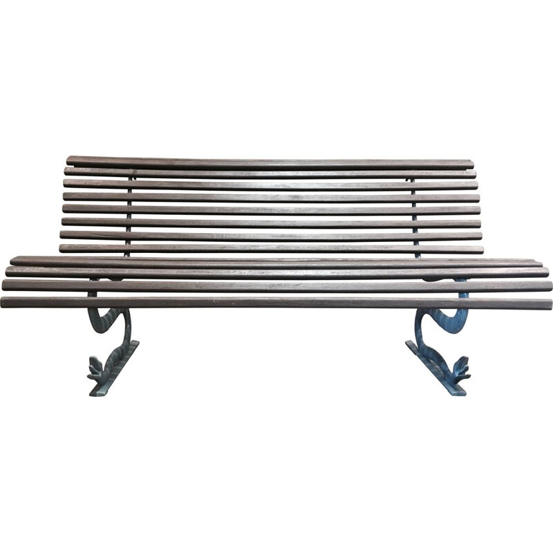 Vintage exterior bench wood and metal France 1960