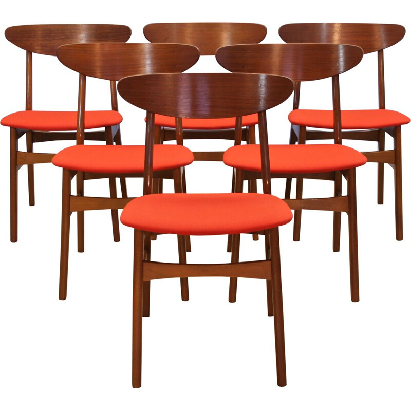 Vintage set of 6 danish dining chairs in teak by Falsled, 1960s