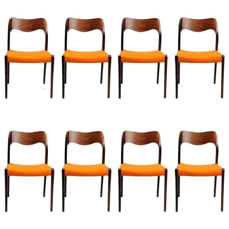 Set of 8 vintage rosewood dining chairs by Niels Otto Møller, 1951