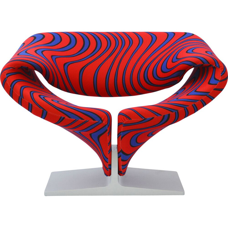 "Vintage ribbon chair ""Flame"" fabric from Jack Lenor Larsen, by Pierre Paulin for Artifort"