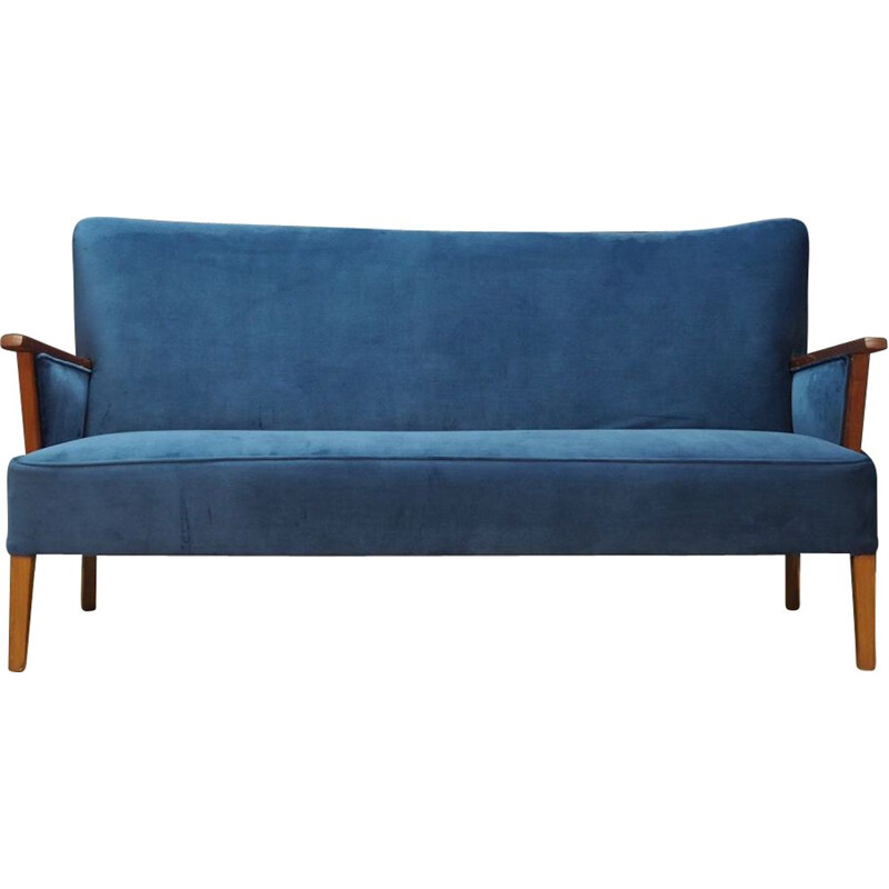 Vintage blue velvet and wooden sofa, Denmark, 1960-70